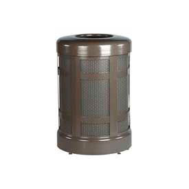 "Open Top Trash Receptacle With Plastic Liner, Bronze, 38 gal. cap, 24""Dia x 35""H"
