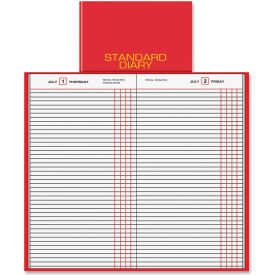 """Daily Journal, Jan-Dec, 1PPD, 7-11/16""""x12-1/4""""Page Size, Red"""
