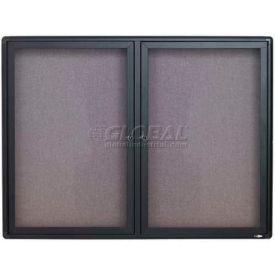 """Quartet® Enclosed Radius Fabric Bulletin Board, 48""""W x 36""""H, 2 Door"""