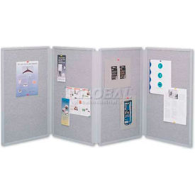"""Quartet® Tabletop Display Board, 72""""W x 30""""H, 4 Panels, Double-Sided, Gray"""