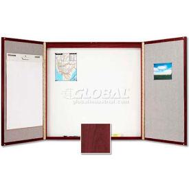 "Quartet® Laminate Conference Room Cabinet, 48""W x 48""H, Whiteboard/Bulletin, Mahogany"
