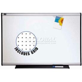 "Quartet® Prestige® Total Erase® Whiteboard, 72""W x 48""H, Aluminum, Writing Grid"