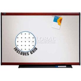 "Quartet® Prestige® Total Erase® Whiteboard, 96""W x 48""H, Mahogany, Writing Grid"