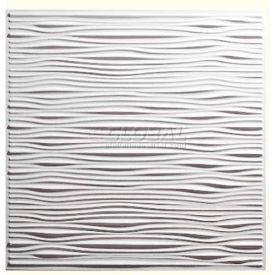 Genesis Designer Drifts PVC Ceiling Tile 751-00, Waterproof & Washable, 2'L X 2'W, White