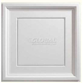 Genesis Designer Icon Coffer PVC Ceiling Tile 753-00, Waterproof & Washable, 2'L X 2'W, White