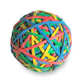 Acco Rubber Band Ball, 275 Assorted Color Bands, 1 Each by