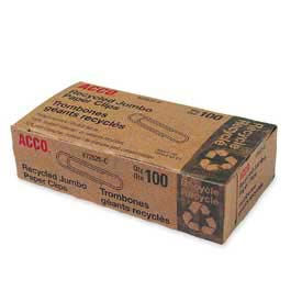 Acco® Recycled Jumbo Paper Clips, Silver, 100/Box