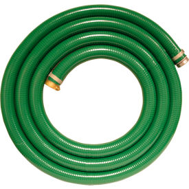 """Apache 98128055 3"""" x 20' Green PVC Water Suction Hose Assembly w/M x F Aluminum Short Shank Fittings"""