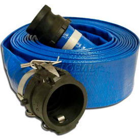 "1-1/2""  x  50' PVC Lay Flat Discharge Hose Coupled w/ C x E Poly Cam & Groove Fittings"