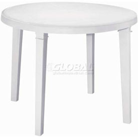 """Adams® 38"""" Round Outdoor Table - White (Sold in Pk. Qty 3) - Pkg Qty 3"""