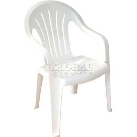 Adams Regal Fan Mid Back Outdoor Armchair White (Sold in Pk. Count 4) Package Count 4 by