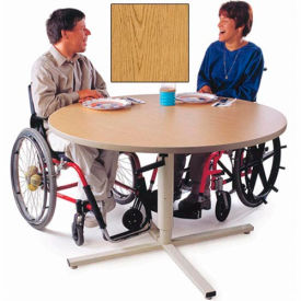 Height Adjustable Round Group Therapy Table - Oak