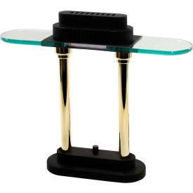 "Halogen Desk Lamp, Black w/ Brass Poles, 15""H Package Count 2 by"
