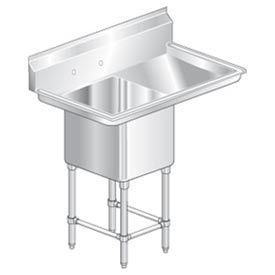 """One Bowl Aerospec SS NSF Sink with 24""""W Right Drainboard - 20""""Wx20""""D"""