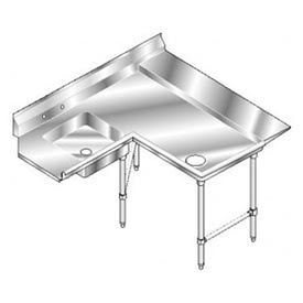 Aerospec SS NSF Soiled Shelf Island w/ Right Drainboard - 48 x 72
