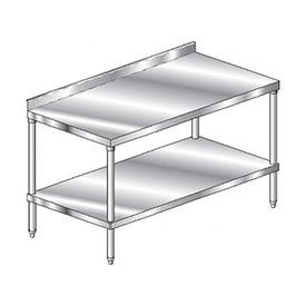 "Aero Manufacturing 2TSS-30144 144""W x 30""D Stainless Steel Workbench, 2-3/4"" Backsplash, SS Shelf"