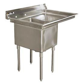 """One Bowl Deluxe SS NSF Sink with 18""""W Right Drainboard - 24""""Wx24""""D"""
