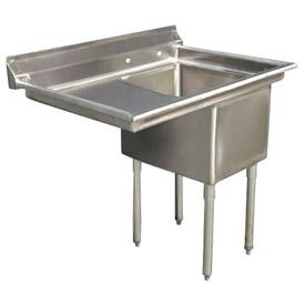 "One Bowl Deluxe SS NSF Sink with 24""W Left Drainboard - 20""Wx30""D"