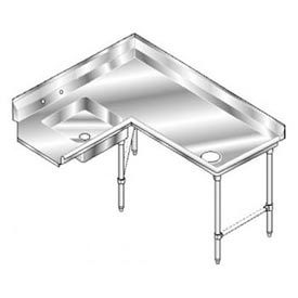 Deluxe SS NSF Soiled Corner w/ Right Drainboard - 72 x 60