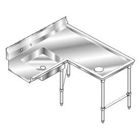 Deluxe SS NSF Soiled Island w/ Right Drainboard - 72 x 60
