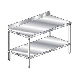 "Aero Manufacturing 3TSB-3096 96""W x 30""D Stainless Steel Workbench 4"" Backsplash SS Undershelf"