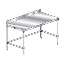 "Aero Manufacturing 3TSBX-2484 84""W x 24""D Stainless Steel Workbench 4"" Backsplash and Crossbracing"