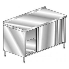 "Aero Manufacturing 3TSSOD-2460 60""W x 24""D Deluxe Cabinet, 2-3/4"" Backsplash, Sliding Doors"