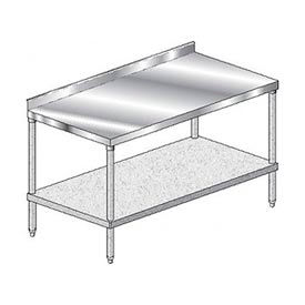 """Aero Manufacturing 4TGS-3672 72"""" W x 36"""" D Stainless Steel Workbench with 2-3/4"""" Backsplash"""