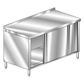 "Aero Manufacturing 4TGSOD-2460 60""W x 24""D Economy Cabinet, 2-3/4"" Backsplash, Sliding Doors, Galv."