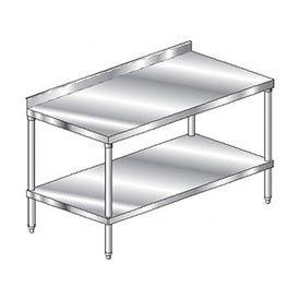 "Aero Manufacturing 4TSS-24144 144""W x 24""D Stainless Steel Workbench, 2-3/4"" Backsplash, SS Shelf"