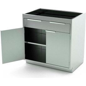 Aero Stainless Steel Base Medical Cabinet BC-1600 - 2 Hinged Doors, 1 Shelf 1 Drawer, 30x21x36