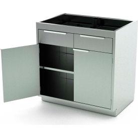 Aero Stainless Steel Base Medical Cabinet BC-1702 - 2 Hinged Doors 1 Shelf 2 Drawers, 42x21x36