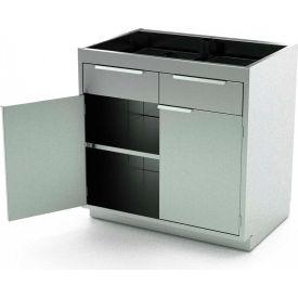 Aero Stainless Steel Base Medical Cabinet BC-1802 - 2 Hinged Doors 1 Shelf 4 Drawers, 42x21x36