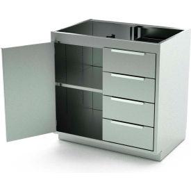 Aero Stainless Steel Base Medical Cabinet BC-1900 - 1 Hinged Door 1 Shelf 4 Drawers, 30x21x36