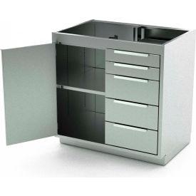 Aero Stainless Steel Base Medical Cabinet BC-2002 - 1 Hinged Door 1 Shelf 5 Drawers, 36x21x36