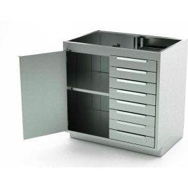 Aero Stainless Steel Base Medical Cabinet BC-2100 - 1 Hinged Door 1 Shelf 8 Drawers, 30x21x36