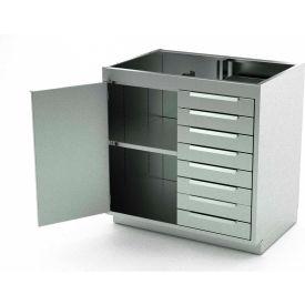 Aero Stainless Steel Base Medical Cabinet BC-2100 - 1 Hinged Door 1 Shelf 8 Drawers, 30x21x36