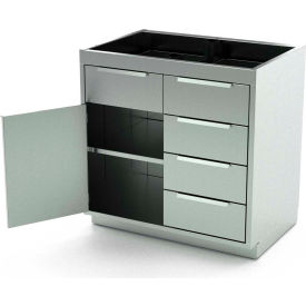 Aero Stainless Steel Base Medical Cabinet BC-2503 - 1 Hinged Door 1 Shelf 4 Drawers, 48x21x36