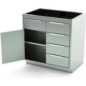 Aero Stainless Steel Base Medical Cabinet BC-2503 - 1 Hinged Door 1 Shelf 4 Drawers, 48x21x36