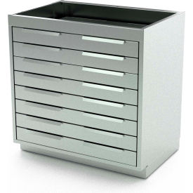 """Aero Stainless Steel Base Medical Cabinet BC-3500 - 8 Drawers, 30""""W x 21""""D x 36""""H"""
