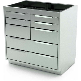"Aero Stainless Steel Base Medical Cabinet BC-3702 - 8 Drawers, 42""W x 21""D x 36""H"