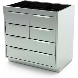 """Aero Stainless Steel Base Medical Cabinet BC-3801 - 6 Drawers, 36""""W x 21""""D x 36""""H"""