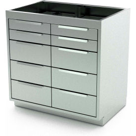 """Aero Stainless Steel Base Medical Cabinet BC-4102 - 10 Drawers, 42""""W x 21""""D x 36""""H"""