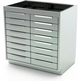 """Aero Stainless Steel Base Medical Cabinet BC-4200 - 16 Drawers, 30""""W x 21""""D x 36""""H"""