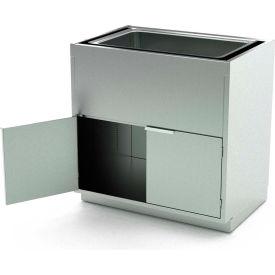 "Aero Stainless Steel Base Medical Cabinet BC-4401- 2 Hinged Doors 1 Shelf, Sink Bowl, 36""Wx21""Dx36""H"