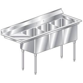 "Three Bowl Economy SS NSF Sink with 18""W Left Drainboard - 16""Wx21""D"