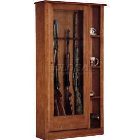 American Furniture Classics 725 Wood Curio Gun Combination Storage Cabinet, 10 Long Guns