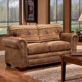 American Furniture Classics Wild Horses Loveseat, 100% Cotton Tapestry