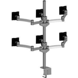 Desktop Monitor Mounts w/ 6 Z-Arms & Clamps - Gray