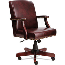 Alera Executive Office Chair - Vinyl - Mid Back - Oxblood Vinyl - Traditional Series